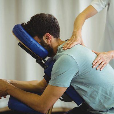 Massage assis siège bleu